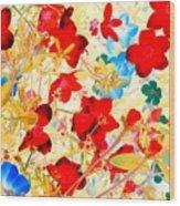 Red Wild Flowers Wood Print
