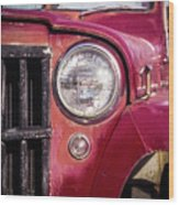 Red Willys Jeep Truck Wood Print