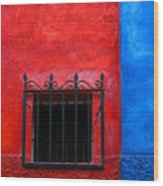 Red Window With Blue By Darian Day Wood Print