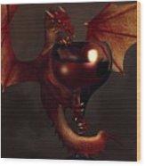 Red Wine Dragon Wood Print by Daniel Eskridge