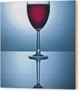 Red Wine With Reflection Wood Print