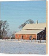 Red Winter Barn Wood Print