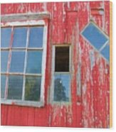 Red Wood And Windows Wood Print