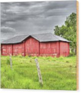 Red Wood Barn - Edna, Tx Wood Print