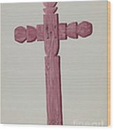 Red Wooden Cross Used As Headstone Wood Print