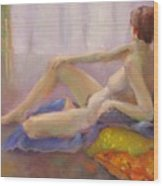 Red Yellow And Blue Nude      Copyrighted Wood Print