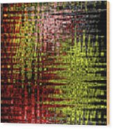 Red Yellow White Black Abstract Wood Print