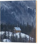 Redcloud Chapel In Blue Wood Print by David Ackerson