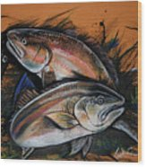 Redfish Frenzy Wood Print