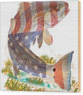 Redfish, White And Blue Wood Print