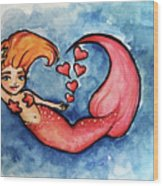 Redhead Mermaid Wood Print