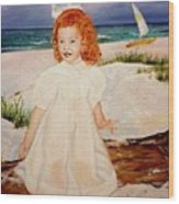 Redhead On Beach Wood Print