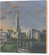 Redlands Temple Wood Print by Jeff Brimley