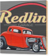 Redline Hot Rod Garage Wood Print