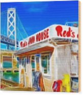 Red's Java House Electrified Wood Print