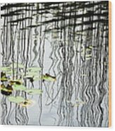Reeds And Reflections Wood Print