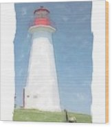Reflect At Cape George Lighthouse Wood Print