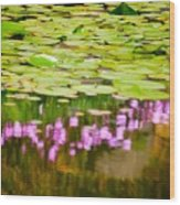 Reflected Flowers And Lilies Wood Print