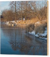 Reflecting In Threes - Three Trees By The Lake Wood Print