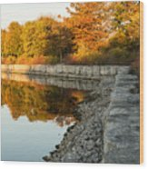 Reflecting On Autumn - Gray Rocks Highlighting The Foliage Brilliance Wood Print