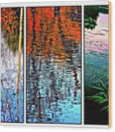 Reflecting On Autumn - Triptych Wood Print