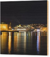 Reflecting On Malta - Cruising Out Of Valletta Grand Harbour Wood Print
