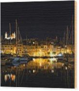 Reflecting On Malta - Senglea Golden Night Magic Wood Print