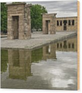 Reflecting On Millennia - Egyptian Temple Of Debod In Madrid Spain  Wood Print