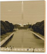 Reflecting Pool Of The Washington Monument Wood Print