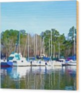 Reflecting The Masts - Watercolor Style Wood Print