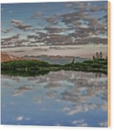 Reflection In A Mountain Pond Wood Print