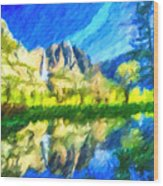 Reflection In Merced River Of Yosemite Waterfalls Wood Print