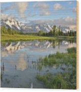 Reflection In Snake River At Grand Teton Wood Print