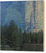 Reflection In The Merced River Wood Print