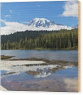 Reflection Lakes In Mount Rainier National Park Wood Print
