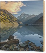 Reflection Of Aoraki Wood Print