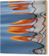 Water Reflection Of Orange Blobs And Black Zig Zagging Lines Wood Print