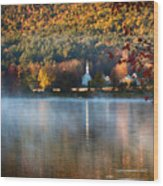 Reflection Of Little White Church With Fall Foliage Wood Print