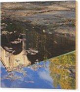 Reflection Of Montgomery Covered Bridge Wood Print