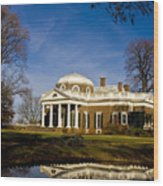 Reflection Of Monticello Wood Print
