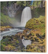 Reflection Of Sahalie Falls Wood Print