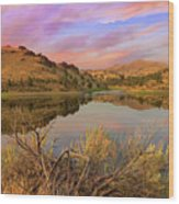Reflection Of Scenic High Desert Landscape In Central Oregon Wood Print