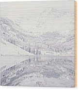 Reflection Of Snowcapped Mountains Wood Print