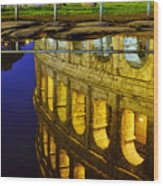 Reflection Of The Colosseum Wood Print
