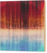 Reflection Of Trees Wood Print