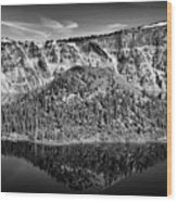 Reflection Of Wizard Island Crater Lake B W Wood Print