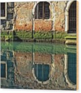 Reflection on Canal in Venice Wood Print