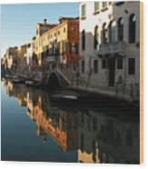 Reflection On The Cannaregio Canal In Venice Wood Print