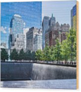 Reflections At 911 Memorial Wood Print