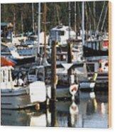 Reflections At Dock II Wood Print